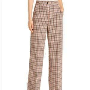 Tory Burch Plaid Wide Leg Pants